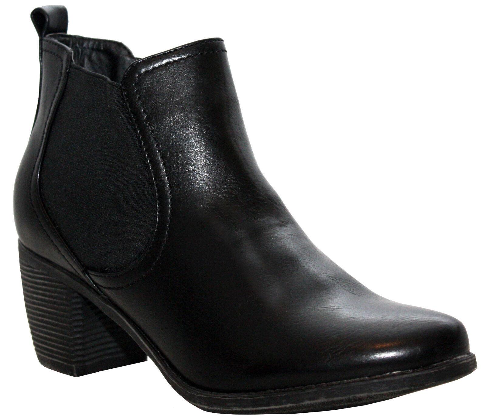 WOMENS BLOCK HEEL TWIN GUSSET WESTERN COWBOY CHELSEA BLACK LADIES ANKLE BOOTS UK