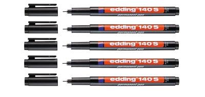 2 x Edding 140 S OHP-Marker schwarz permanent 0,3 mm 140S-001