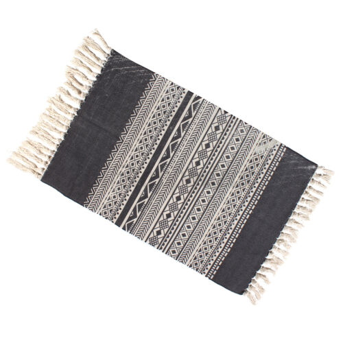 Boho Cotton Tassel Area Rug Tribal Floor Mat Living Room Bedroom Carpet 90x60cm