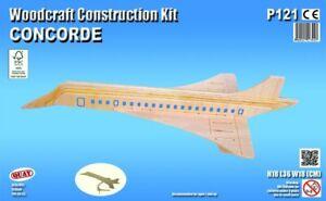 Woodcraft Quay Construction Jet Plane Wooden 3D Model Kit Age 7 plus Concorde