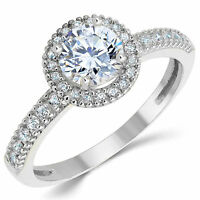 14k Solid White Gold Cz Cubic Zirconia Halo Design Solitaire Engagement Ring