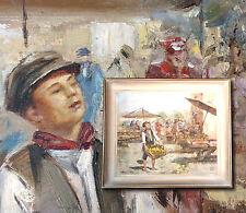 Mercatino Napoletano. FRANCO RISPOLI (*1921) Orig. Ölgemälde Italien Marktszene