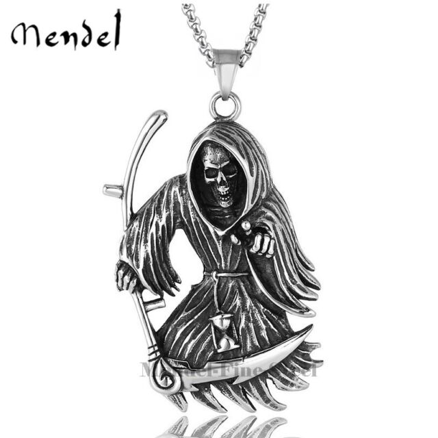 Jewelry Men S Punk Stainless Steel Grim Reaper Necklace Chains