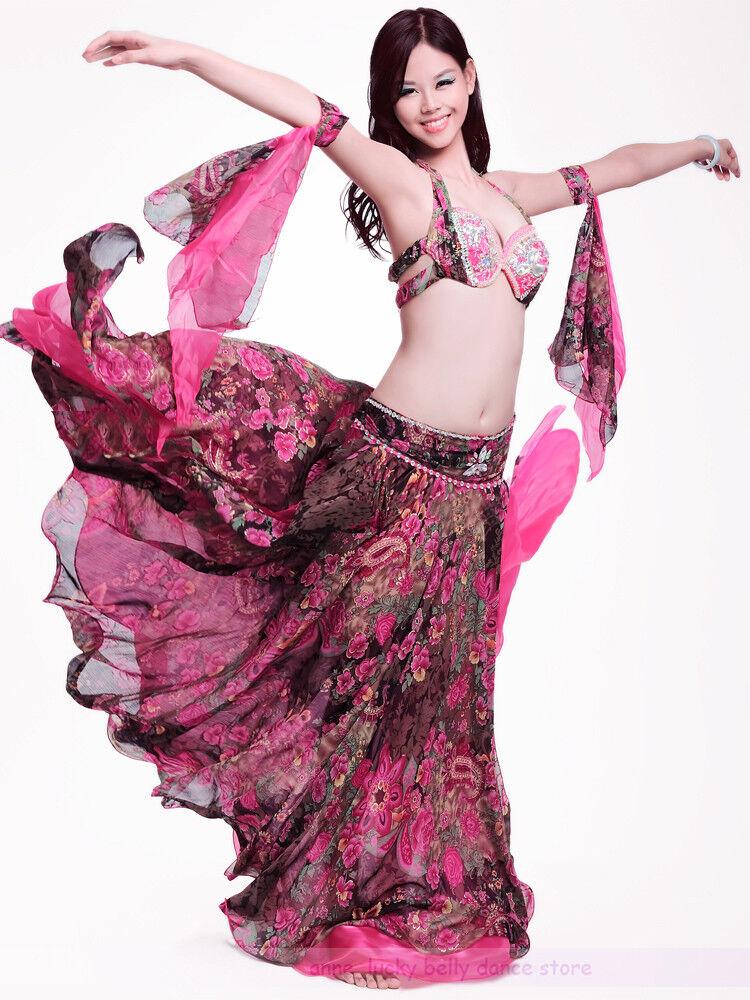 New Belly Dance Costume 4Pcs of Bra/&Belt/&Necklace/&Armband 34B 36B 38B 8 colors