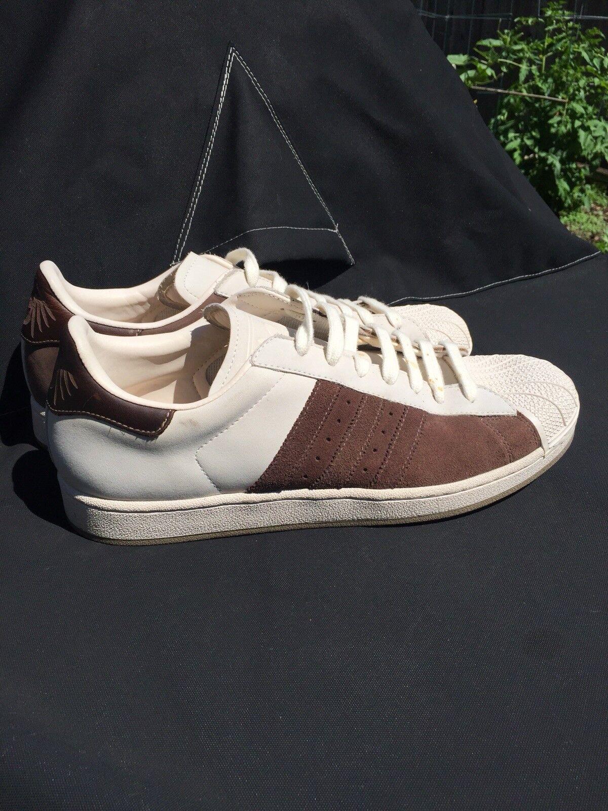 Zapatillas de deporte Adidas Superstar Clamshell para hombre Sz 12 de ante marrón
