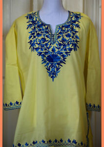 Blue-Embroidered-Yellow-Color-Cotton-Tunic-Top-Kurti-from-India-X-Large