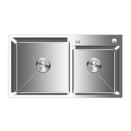 Edelstahl Küchenspüle Eckig Einbauspüle Spülbecken mit Abtropffläche für Küche