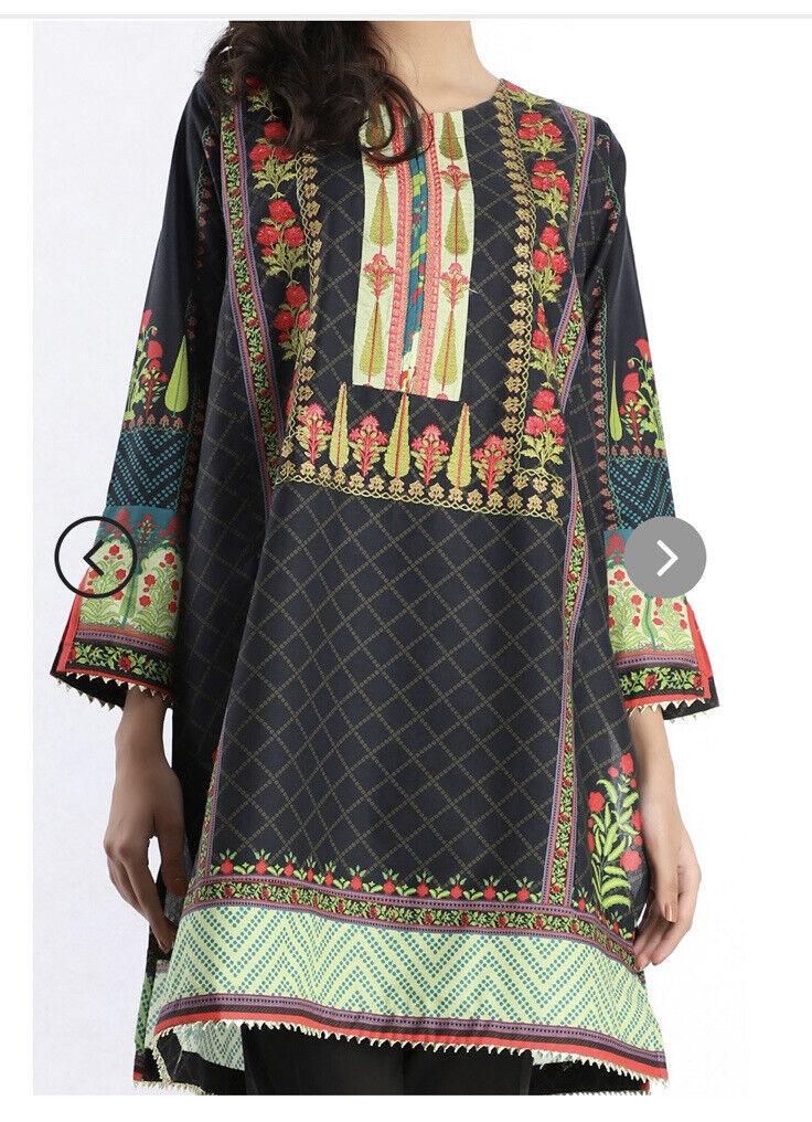 Khaadi Large Size 14 Black Cotton Embroidered Kurta With Gotta Lace/