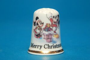 Merry-Christmas-From-Mickey-and-Minnie-on-Top-of-The-Chimmy-China-Thimble-B-184