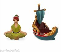 Disneyland Disney's Peter Pan On Flying Ship Salt & Pepper Setnewceramic