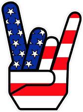 """#498 (1) 4.5""""  Metal Horns Rocker USA FLAG Ozzy Metallica Head Decal Sticker"""