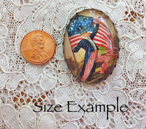 UNCLE SAM AMERICAN FLAG Glass OVAL BUTTON Filigree Brass XL VINTAGE PATRIOTIC