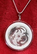 "Dragon & Phoenix Pendant, 2017 Australia 1oz..999 Fine Silver Coin +22""Necklace"
