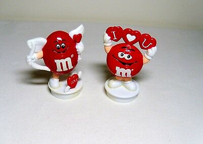 #2 Lot 2 M&M Valentine Candy Tube Topper Figures Red Cupid + I Luv U Character