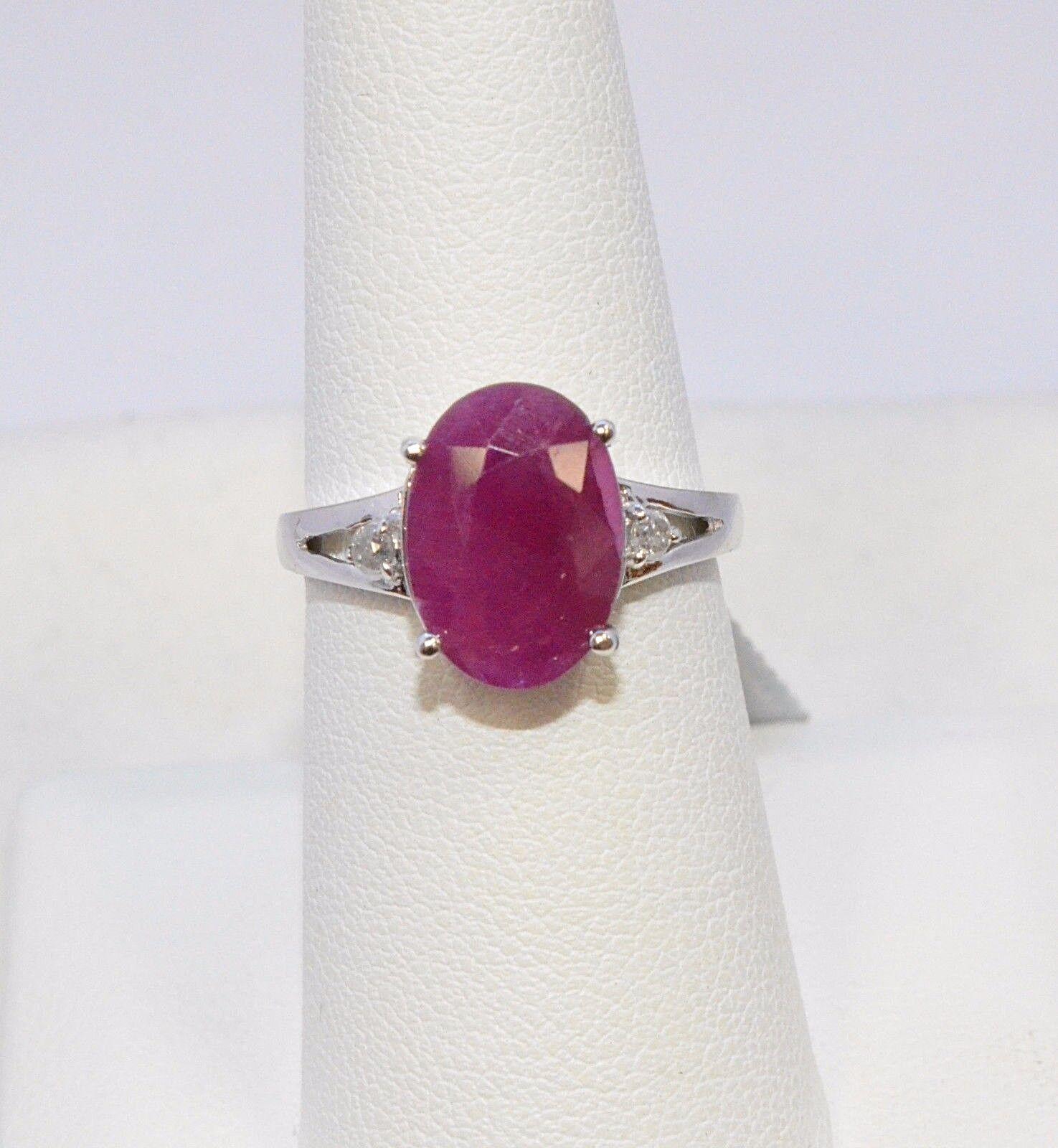 2088- 10K WHITE gold RUBY & DIAMOND RING 5.30TCW 3.60 GRAMS SIZE 6.5