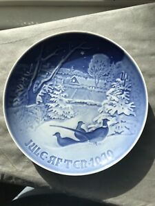 1970 Bing & Grondahl Blue Christmas Plate Pheasants in the Snow at Christmas B G