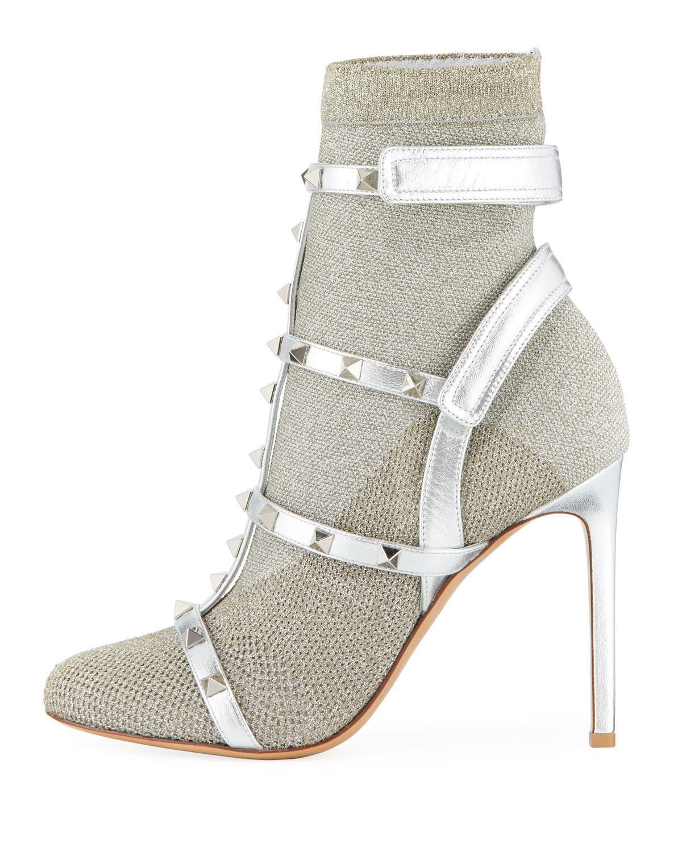 NIB Valentino Rockstud Bodytech Silver S13 Sock Knit Ankle Heel Boot Bootie 35