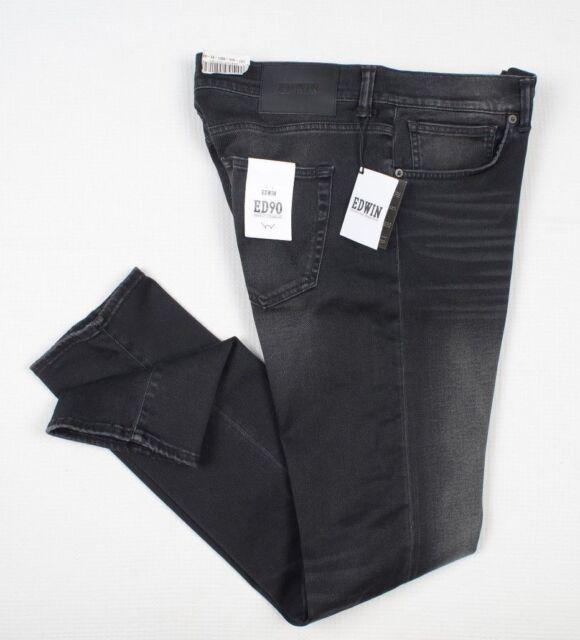 NEW EDWIN ED 90 Mens Slim fit Black jeans W34 L32 Japanese Denim Skinny RRP £120