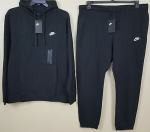 NIKE-FLEECE-SWEATSUIT-HOODIE-PANTS-SUIT-OUTFIT-BLACK-WHITE-RARE-NEW-SIZE-2XL