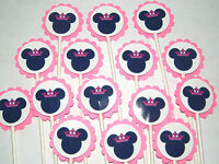15 Minnie Mouse Princess Cupcake Toppers Birthday Party Favors, Baby Shower 15