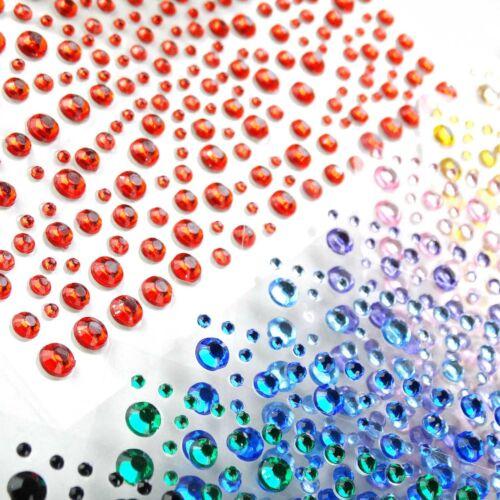 300 Mixed 1 2 3 4mm Self Adhesive Rhinestone Stickers Diamante Gem Clear Colour