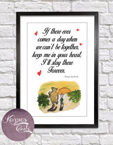 Winnie The Pooh Heart Quote Art Print Picture Nursery Christmas Baby Gift W2