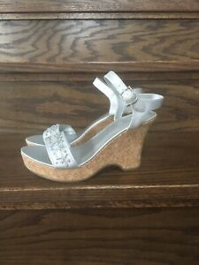a9a17c61665 Image is loading Fioni-Shoes-Sandals-Wadge-Heel-Color-Silver-Size-
