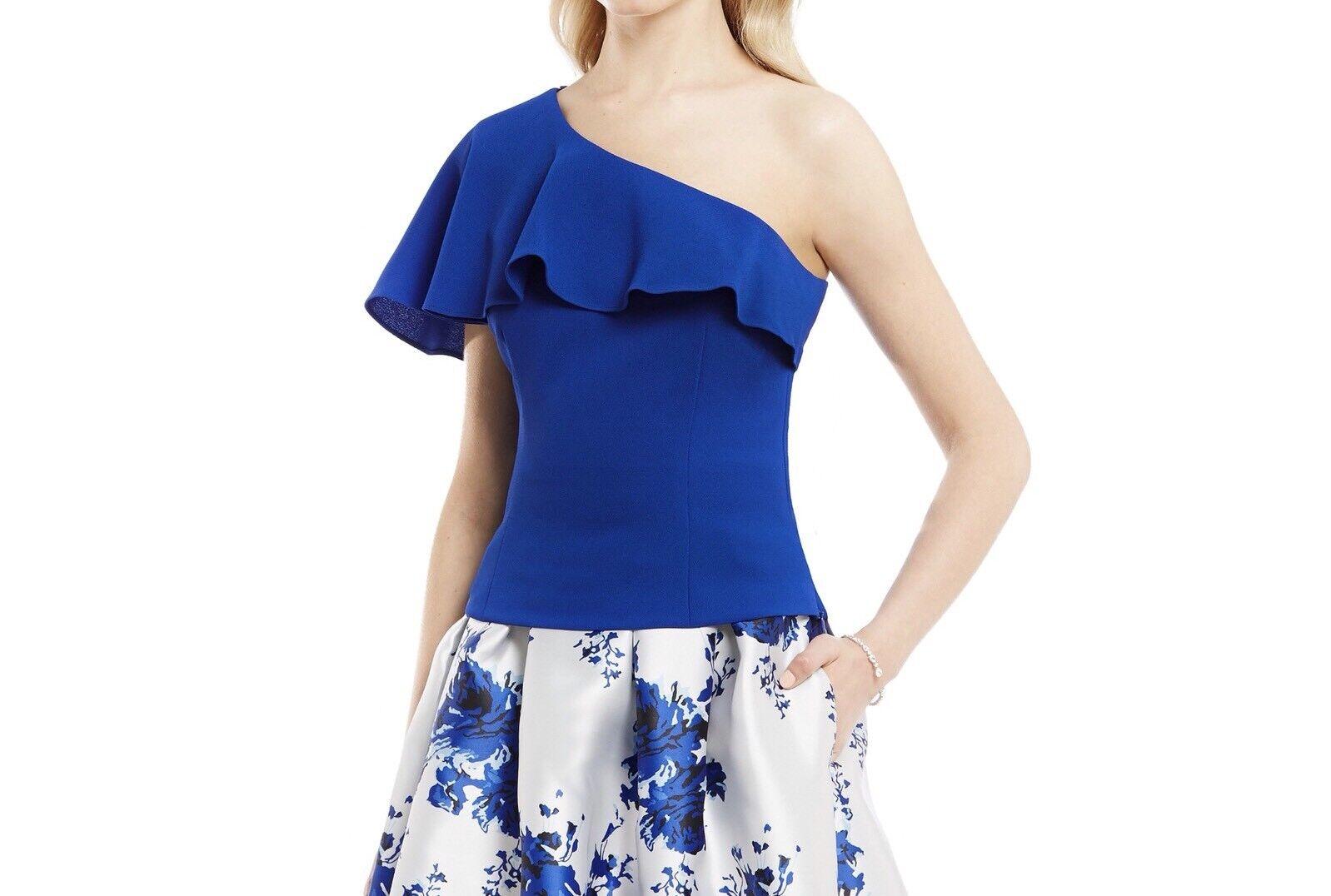 Eliza J Ruffle One Shoulder Crepe Top Size 4