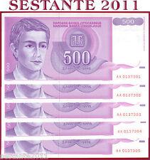 YUGOSLAVIA  500 DINARA 1992 Prefix AA - 5 notes running number - P  113  FDS/UNC