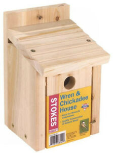 Stokes Select 38149 Wren & Chickadee Nesting Bird House, Natural Wood