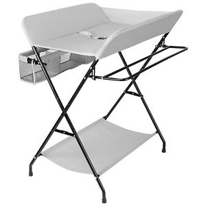 Baby Changing Table Folding Diaper Station Nursery Organizer for Infant-Grey