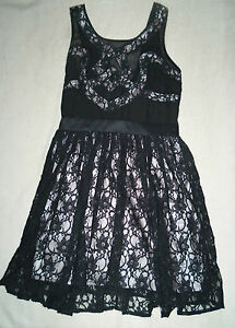 Lipsy Black Lace Sleeveless Skater Dress Size 10 - New with Tags ... 1fa0c6464