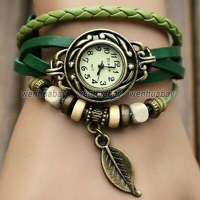 Retro Butterfly/Leaf Weave Wrap Around Leather Bracelet Bangle Womens Girl Watch