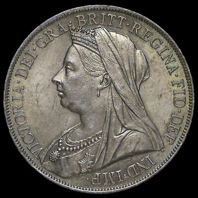 1900 Queen Victoria Veiled Head Silver LXIV Crown, A/UNC