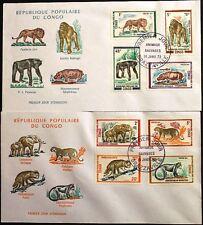 KONGO BRAZZAVILLE 1972 341-8 268-5 Wildtiere Wild Animals Tiere Lion Leopard FDC