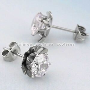 Pair-Surgical-Steel-Clear-Zircon-Crystal-Flower-Earring-Stud-Earlet-Eardrop-am