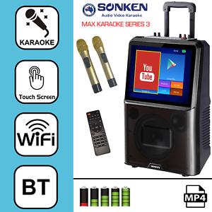 """SONKEN MAX PORTABLE KARAOKE SYSTEM + 2 WIRELESS MICS - 50 WATTS & 15"""" LCD SCREEN"""