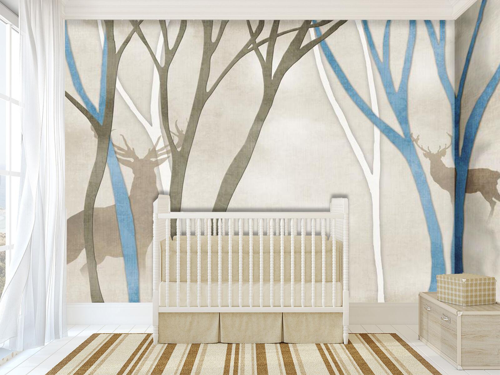 3D Bois Faon 33 Photo Papier Peint en Autocollant Murale Plafond Chambre Art