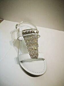 Cafè noir sandale cuir blanc argent NEUVE Val 119E Pointures 36,38