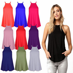 9e9d29b4a268d Details about New Ladies High Neck Cami Vest Camisole Lot Strappy Swing Top  Dress Size (8-26)
