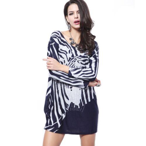 Femme Manche Longue Animal Imprimé Zèbre coupe ample oversize Pull Taille 12-14