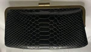 HOBO-International-Black-Leather-Snakeskin-Clutch-Wallet-Purse-Gold-Hardware