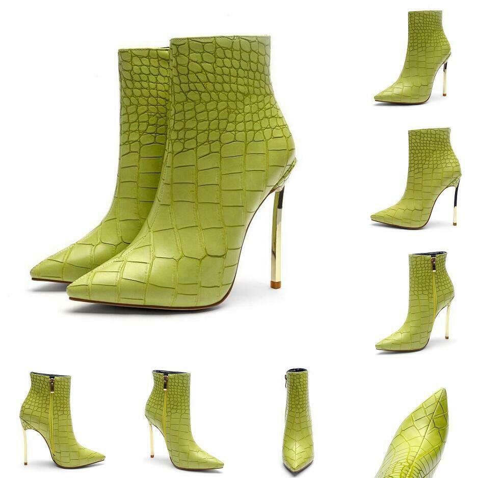 Women's Solid Green Pointed Toe Stiletto Side Zip Snakeskin Grain Ankle Boots US