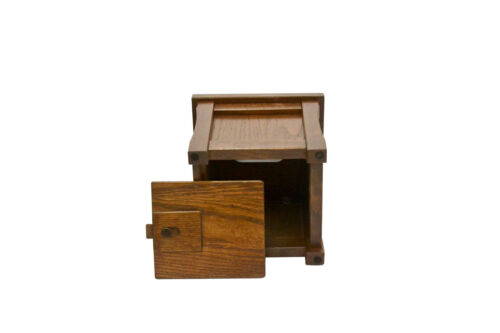 """Mission style tissue box /""""Cube/"""" holder Duo wooden trash can Oak."""