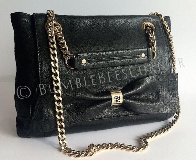 Carolina Herrera Audrey Leather Embossed Logo Bow Shoulder Bag Ch Handbag Nwt