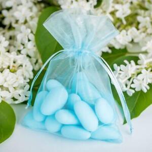 10-Bleu-Organza-Cadeau-Sacs-Mariage-Fete-Noel-Bijoux-Bonbon-Pochettes-9-x-13cm