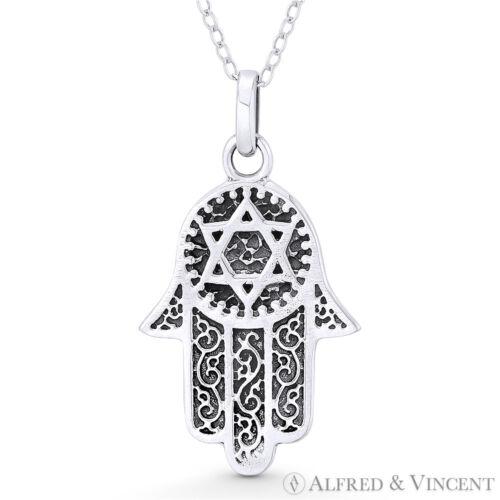 Hamsa Hand /& Star of David Magen Oxidized .925 Sterling Silver Necklace Pendant