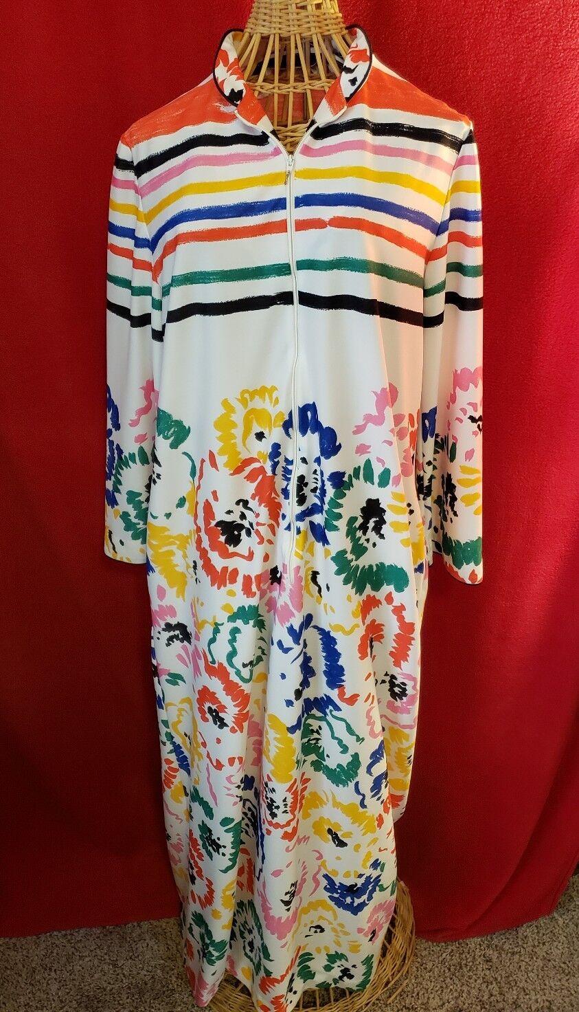 Vintage DAVID BROWN of CALIFORNIA Multicolord 1 2 Zip LS Caftan Muumuu Size M