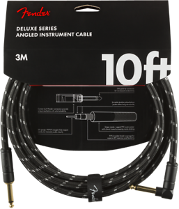 Fender-Deluxe-BLACK-TWEED-Guitar-Instrument-Cable-Straight-Right-Angle-10-039-ft