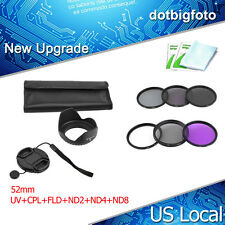 Slim 52mm Lens Filter Kit UV CPL FLD ND 2 4 8  Pouch for Nikon Canon Casio Sony